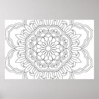 Blumenentwurfs-Inder vect des schönen Mandala Poster