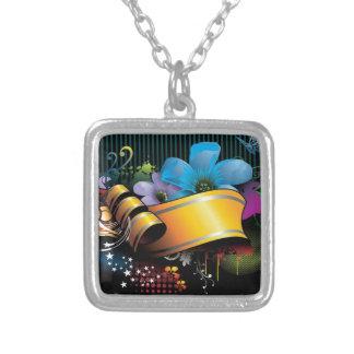 Blumenfahnen-Hauptentwurf Halskette Mit Quadratischem Anhänger