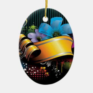 Blumenfahnen-Hauptentwurf Ovales Keramik Ornament