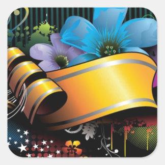 Blumenfahnen-Hauptentwurf Quadratischer Aufkleber