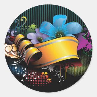 Blumenfahnen-Hauptentwurf Runder Aufkleber