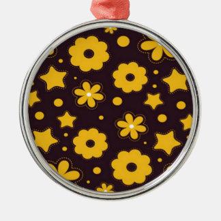 Blumenfahnen-Hauptentwurf Rundes Silberfarbenes Ornament