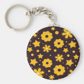 Blumenfahnen-Hauptentwurf Standard Runder Schlüsselanhänger