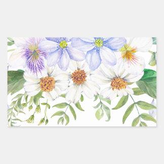 Blumenfeld-Blumenstrauß Rechteckiger Aufkleber