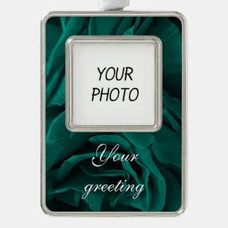 BlumenFoto der reichen aquamarinen blaugrünen Rahmen-Ornament Silber