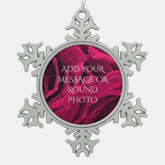 BlumenFoto der romantischen pinkfarbenen rosa Schneeflocken Zinn-Ornament