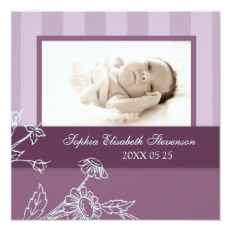 BlumenFoto-Schablonen-neue Baby-Geburts-Mitteilung Quadratische 13,3 Cm Einladungskarte