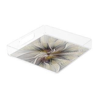BlumenFraktal, Fantasie-Blume mit Erdfarben Acryl Tablett
