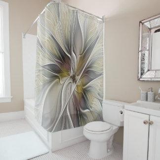 BlumenFraktal, Fantasie-Blume mit Erdfarben Duschvorhang