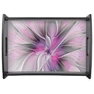 BlumenFraktal-modernes abstraktes Blumen-Rosa-Grau Tablett