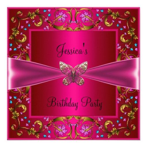 BlumenFushia rosa Schmetterlings-Geburtstags-Party Ankündigung