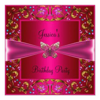 BlumenFushia rosa Schmetterlings-Geburtstags-Party Quadratische 13,3 Cm Einladungskarte