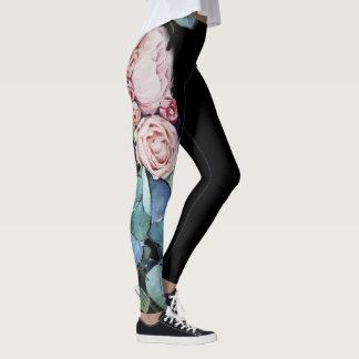 Blumengamaschen des schwarzen Aquarells Leggings