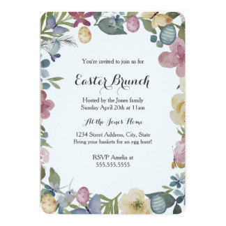 Blumengarten-süße Ostern-Brunch-Einladung Karte
