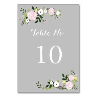 Blumengarten-Tischnummer-Karte - Grau