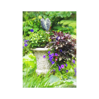 Blumengarten-Urne Leinwanddruck