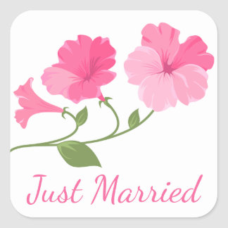 Blumengerade verheiratete rosa pinkfarbene Wedding Quadratischer Aufkleber