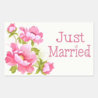 Blumengerade verheiratete rosa rechteckiger aufkleber