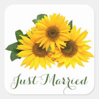 Blumengerade verheiratete Sonnenblume-gelbes Quadratischer Aufkleber