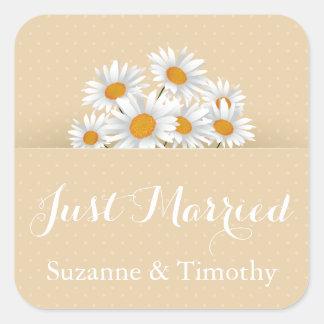 Blumengerade verheiratete weiße quadratischer aufkleber