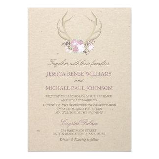 Blumengeweih-Hochzeits-Einladungen 12,7 X 17,8 Cm Einladungskarte