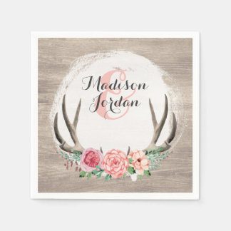 Blumengeweih-rustikale hölzerne Hochzeit Papierserviette