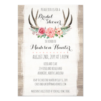 Blumengeweih-rustikale Wedding Karte