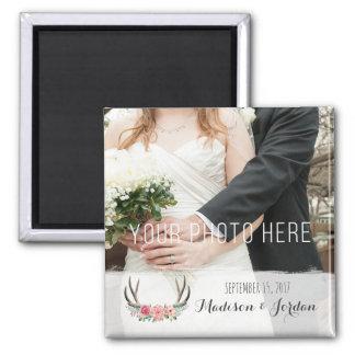 Blumengeweih-rustikales Hochzeits-Andenken-Foto Quadratischer Magnet