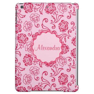 Blumengittermuster der Tee-Rosen auf rosa Namen