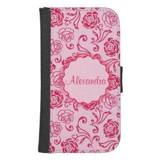 Blumengittermuster der Tee-Rosen auf rosa Namen Galaxy S4 Geldbeutel Hülle