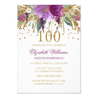 BlumenGlitzer-funkelnder Amethyst-100. Geburtstag Karte