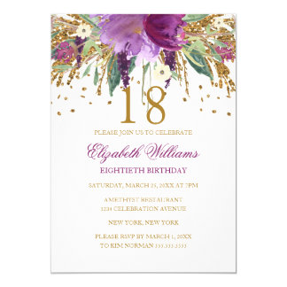 BlumenGlitzer-funkelnder Amethyst-18. Geburtstag Karte