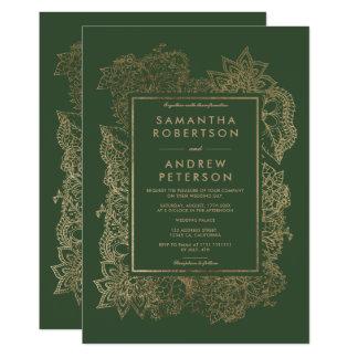 Blumengoldimmergrüne moderne Hochzeit Karte