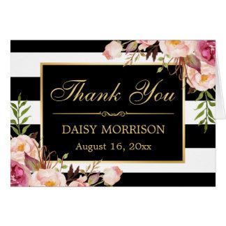 Blumengoldrahmen-Schwarz-weiße Streifen danken Mitteilungskarte