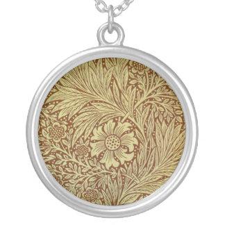 Blumengrafik-Vintage Tapete Williams Morris Versilberte Kette