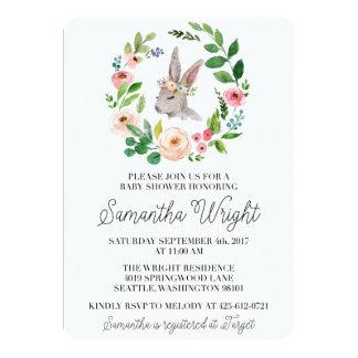 Blumenhäschen-Babyparty-Einladung 12,7 X 17,8 Cm Einladungskarte