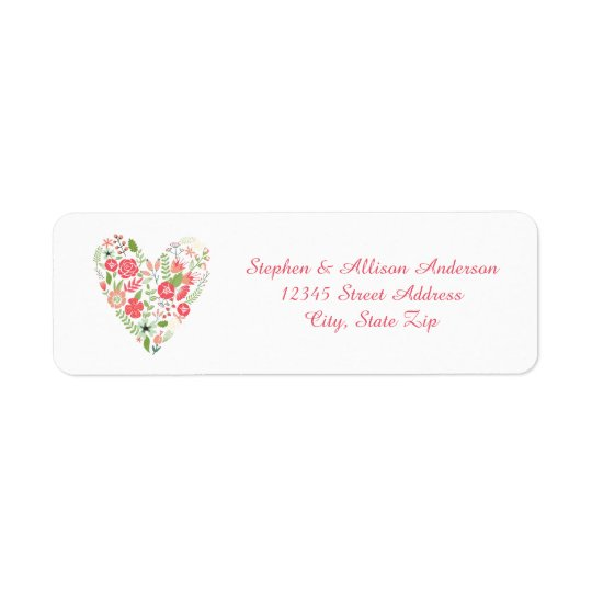 Blumenherz - Adressen-Etiketten Rückversand-Adressaufkleber