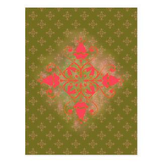 Blumenhintergrund der olivgrünen postkarte