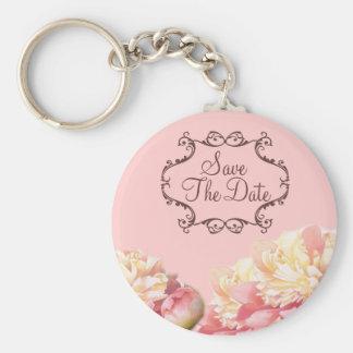 Blumenhochzeit der Vintagen rosa Pfingstrose Standard Runder Schlüsselanhänger