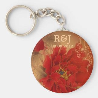 Blumenhochzeit moderner Vintager Standard Runder Schlüsselanhänger
