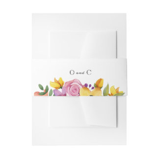 Blumenhochzeits-Einladungs-Bauch-Bänder Einladungsbanderole
