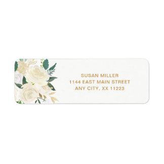 Blumenhochzeits-Rücksendeadresse der weißen