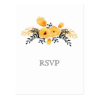 Blumenhochzeits-uAwg des gelben grauen Watercolor Postkarte