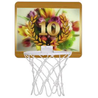 Blumenillustration des 10-jährigen Jahrestages Mini Basketball Ring
