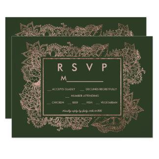 BlumenImitat-Rosengoldjägergrün UAWG wedding Karte