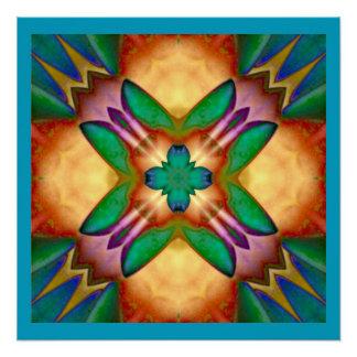 Blumenkaleidoskop-blaues orange grünes Lila Perfektes Poster