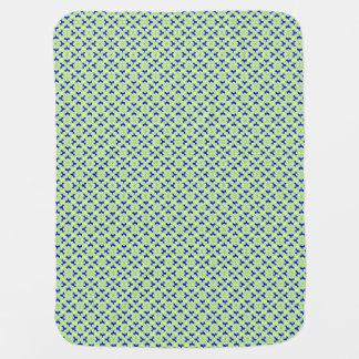 Blumenkimonodruck, Kobaltblau und Limones Grün Babydecke