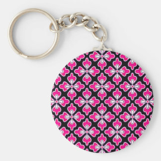 BlumenKimonodruck, pinkfarbenes rosa und schwarz Schlüsselanhänger