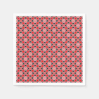BlumenKimonodruck, Rot, Schwarzweiss Serviette