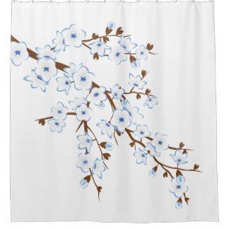Blumenkirschblüten-blauer weißer Klassiker Duschvorhang